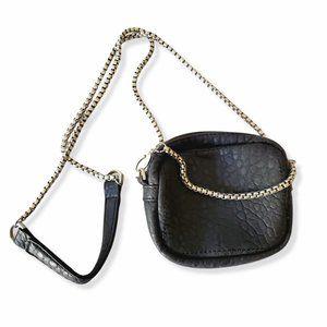 FREE PEOPLE Black Vegan Leather Mini Chain-link Crossbody Purse